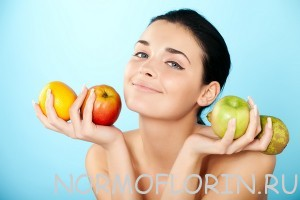 lovely woman with fruit